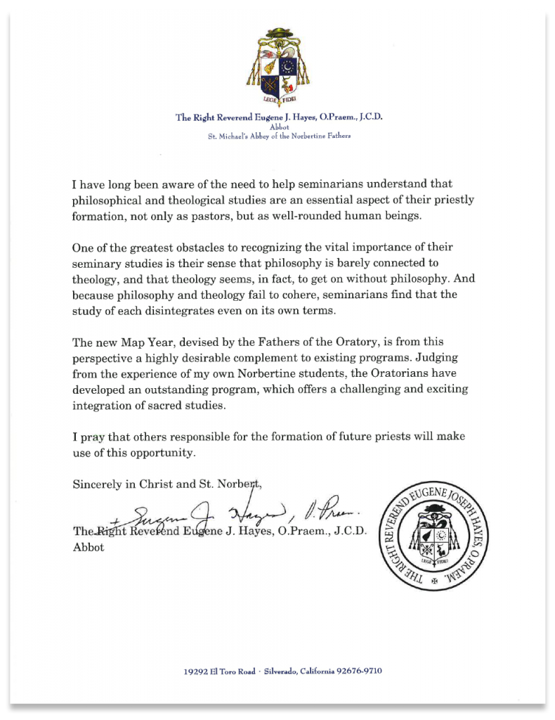 Recommendation Letter from Right Reverend Eugene J. Hayes.